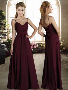 Eye-catching Burgundy Empire Spaghetti Straps Sleeveless Chiffon Floor Length Zipper Ruching Wedding Guest Dresses