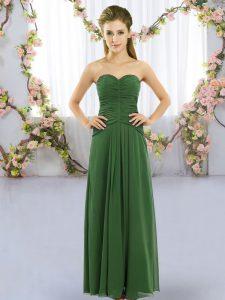 Green Sweetheart Neckline Ruching Bridesmaids Dress Sleeveless Lace Up