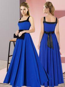 Low Price Royal Blue Sleeveless Belt Floor Length Wedding Guest Dresses