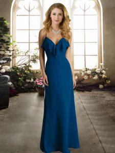 Blue Spaghetti Straps Neckline Ruching Bridesmaid Dresses Sleeveless Criss Cross