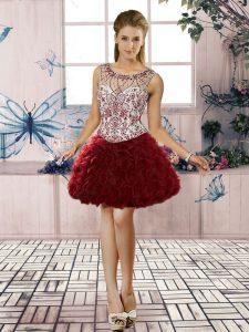 Superior Burgundy Sleeveless Mini Length Beading and Ruffles Lace Up Homecoming Dress