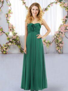 Stunning Dark Green Empire Sweetheart Sleeveless Chiffon Floor Length Lace Up Ruffles Bridesmaids Dress