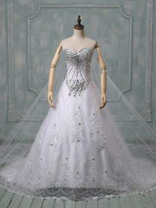 Sweet White Lace Up Wedding Dress Beading and Lace Sleeveless Chapel Train