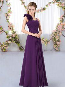 Dark Purple Straps Lace Up Hand Made Flower Bridesmaid Dress Sleeveless