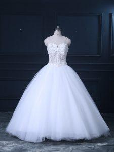 White Tulle Lace Up Wedding Gown Sleeveless Brush Train Beading