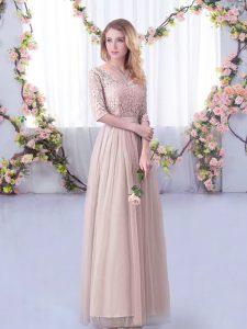 Pink V-neck Side Zipper Lace and Belt Bridesmaid Dress Half Sleeves