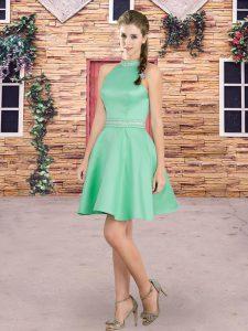 Simple Blue High-neck Neckline Beading Dama Dress for Quinceanera Sleeveless Backless