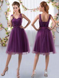 Artistic Purple Tulle Zipper V-neck Sleeveless Knee Length Wedding Guest Dresses Appliques