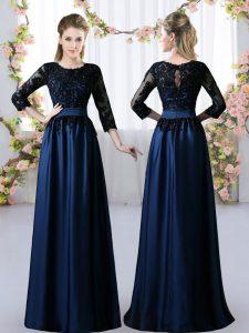 Floor Length Empire 3 4 Length Sleeve Navy Blue Wedding Guest Dresses Zipper