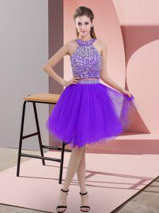 Custom Made Knee Length Purple Dress for Prom Halter Top Sleeveless Backless