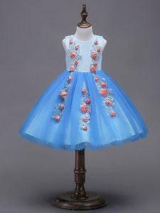 Charming Mini Length Blue Flower Girl Dress Tulle Sleeveless Hand Made Flower