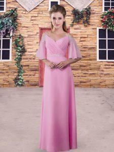 Pink Column/Sheath Chiffon Straps Half Sleeves Lace Floor Length Zipper Quinceanera Dama Dress