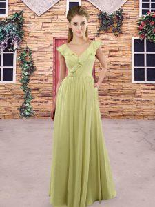 Deluxe Yellow Green and Light Yellow Chiffon Zipper Wedding Guest Dresses Sleeveless Floor Length Ruching