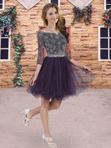 Custom Fit 3 4 Length Sleeve Lace Up Mini Length Beading Bridesmaid Dresses