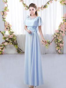 Empire Bridesmaid Dress Lavender Scoop Chiffon Short Sleeves Floor Length Zipper