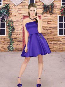 Dazzling Purple Strapless Neckline Beading Wedding Party Dress Sleeveless Zipper