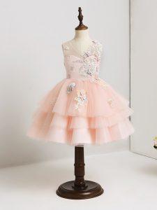 Most Popular Mini Length Pink Toddler Flower Girl Dress Tulle Sleeveless Appliques