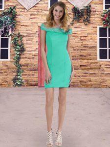 Exquisite Off The Shoulder Sleeveless Lace Up Vestidos de Damas Turquoise Satin