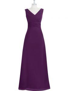 Unique Eggplant Purple Chiffon Zipper V-neck Sleeveless Floor Length Prom Party Dress Ruching