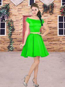 Latest Mini Length Green Quinceanera Court Dresses Satin Short Sleeves Beading