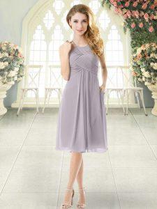 Grey Halter Top Zipper Ruching Evening Dress Sleeveless