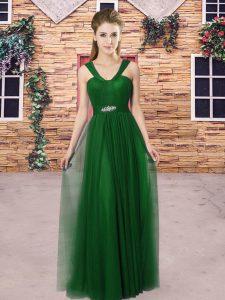 Lovely Straps Sleeveless Tulle Bridesmaids Dress Beading Zipper