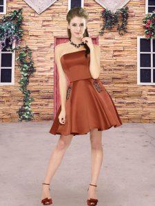 Brown A-line Beading Quinceanera Court of Honor Dress Zipper Satin Sleeveless Mini Length