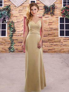 Fashion Floor Length Champagne Bridesmaid Dresses Spaghetti Straps Sleeveless Zipper
