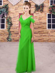 Fitting Floor Length Green Wedding Guest Dresses Straps Sleeveless Backless