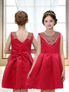 Best Sleeveless Appliques Zipper Flower Girl Dress