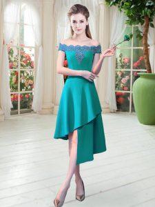 On Sale Appliques Homecoming Dress Teal Zipper Sleeveless Asymmetrical