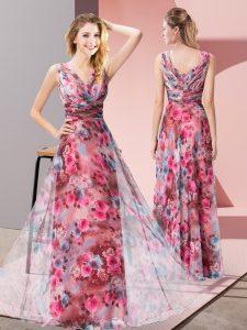 Custom Fit Pattern Prom Gown Multi-color Zipper Sleeveless Floor Length