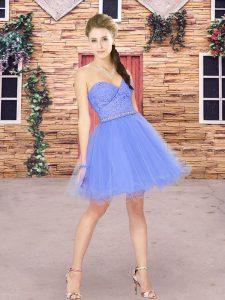 Fashion Sweetheart Sleeveless Wedding Party Dress Mini Length Beading and Lace Blue Tulle