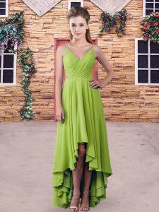 Colorful Chiffon Spaghetti Straps Sleeveless Backless Ruching Bridesmaid Dress in Yellow Green