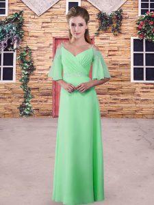 Chiffon Zipper Quinceanera Court Dresses Half Sleeves Floor Length Lace