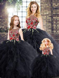 Black Zipper 15 Quinceanera Dress Embroidery and Ruffles Sleeveless Floor Length