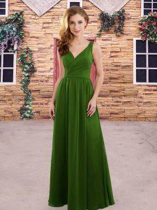 Ruching Dama Dress Green and Olive Green Zipper Sleeveless Floor Length