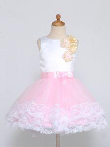 Scoop Sleeveless Zipper Flower Girl Dresses for Less Pink And White Tulle