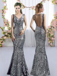 Cheap Silver V-neck Neckline Sequins Bridesmaid Gown Sleeveless Side Zipper