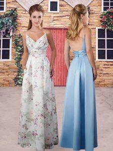 Multi-color Column/Sheath Ruching Quinceanera Dama Dress Backless Printed Sleeveless Floor Length