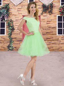 Luxurious Tulle Lace Up Bridesmaids Dress Sleeveless Mini Length Beading
