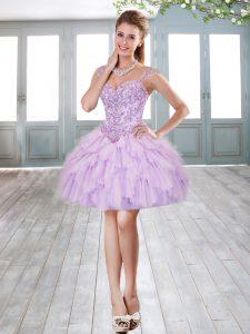 Top Selling Lavender Sleeveless Beading and Ruffles Mini Length Prom Dresses