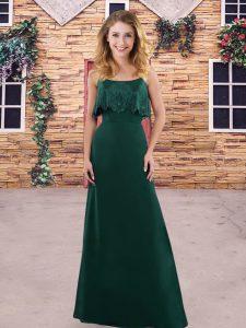 Excellent Dark Green Spaghetti Straps Zipper Lace Bridesmaids Dress Sleeveless