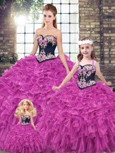 Sweetheart Sleeveless Sweet 16 Dress Embroidery and Ruffles Fuchsia Organza