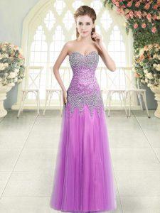 High Quality Lilac Column/Sheath Tulle Sweetheart Sleeveless Beading Floor Length Zipper Evening Dress