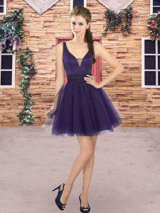 Latest V-neck Sleeveless Backless Wedding Party Dress Purple Tulle