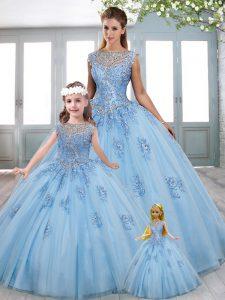Flirting Blue Vestidos de Quinceanera Organza Sweep Train Sleeveless Beading and Lace