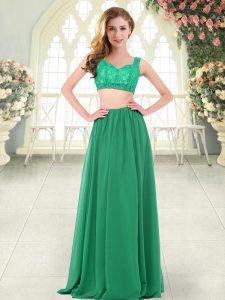 Green Sleeveless Floor Length Beading and Lace Zipper Prom Dress