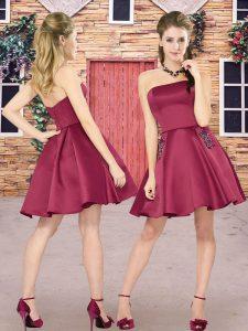 Burgundy Zipper Strapless Beading Quinceanera Dama Dress Satin Sleeveless