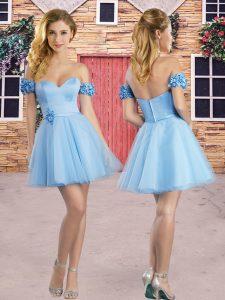 Fine Sleeveless Mini Length Hand Made Flower Zipper Wedding Party Dress with Light Blue